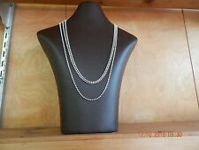 "60"" 2.3mm ball and faceted bead chain necklace in .925 Italy sterling silver"