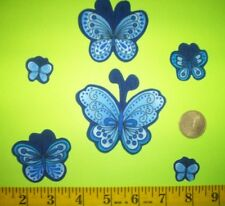 New! Cool! Beautiful Blue Butterflies IRON-ONS FABRIC APPLIQUES IRON-ONS