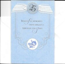 Happy 25 25th Twenty Fifth Blue Roses Silver Anniversary Hallmark Greeting Card