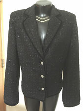 Jones NY Signature Glitzy Black Jacket Sparkly Fabric & Buttons  Velvet Trim 12