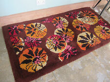 Mid century large 60s Rya wool rug Danish modernist pink yellow 36 x 73 inch