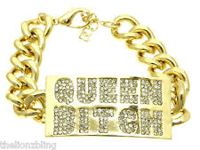 Hip Hop Bling Gold QUEEN BITCH Chain Bracelet