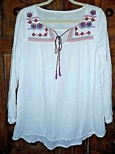 BOHO Hippie Embroidered Cotton Long Sleeve Gauze Tunic Size M/L