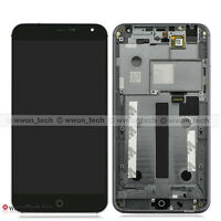 "5.36"" Black Meizu MX4 LCD Display Touch Screen Digitizer Assembly+Front Frame"