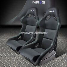 PAIR NRG BUCKET RACING SEAT/SEATS FIBER GLASS/STEEL+ADJUSTER MOUNTING BRACKETS