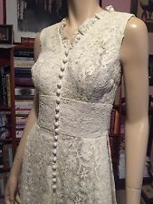 Vintage 1950s DORI CHAPMAN Heavyweight LACE COUTURE LOOK WEDDING GOWN 19 Buttons