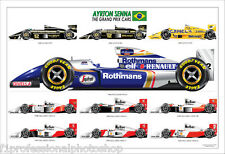 Ayrton Senna ltd.ed.signed art print-the grand prix cars