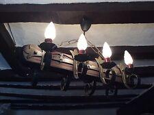 Vintage french wrought iron chandelier chateau plafonnier fleur de lys