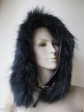 free shipping  Wonderful warmest  real  raccoon fur strip for  hat /black