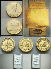 Banknotes plated in puro gold 24k and ingots silver 999 più Monete placcate oro