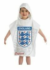 Childrens Kids England Emblem Football White Poncho Towel 100% Cotton