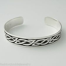 Celtic Trinity Knot Cuff Bracelet - 925 Sterling Silver - Celtic Irish Men Women