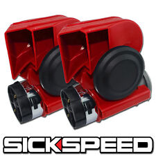 2PC RED NAUTILUS COMPACT HYBRID ELECTRIC/AIR HORN 139DB WITH RELAY FOR 12V P3