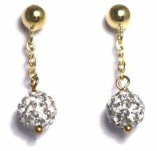 Shamballa Inspired Crystal Balls Sterling Silver Gold Plated Kids Earrings