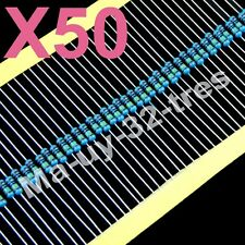 x50 RESISTENCIAS PELICULA DE METAL 510 ohm 1/4W  para 12V.  Diodos Led de 2V.
