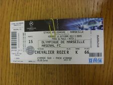 18/09/2013 Ticket: Marseille v Arsenal [Champions League] (complete, folded & wo
