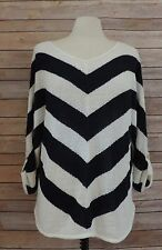 CHICO'S Size 2 ~ Navy & White NAUTICAL V Neck Knitted Top Sweater 3/4 Sleeves