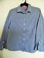 Merona Blue Chambry Polka Dot  Long Sleeve  Top Shirt Blouse Sz XL