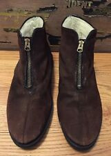 Vintage Suede Brown Talon Zipper Liner Winter Shoes. Size 10.5 D Rare!!
