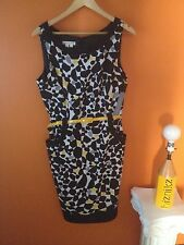 London Times Knee Length Pencil Dress NWT Size 14 Black White Yellow Cute