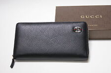 New Gucci Authentic Men's Black Metal GG Web Zip Around Leather Wallet