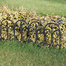 6 x LENGTHS BLACK ORNATE PLASTIC LAWN EDGING MINI FANCY FENCING 3.6mtr
