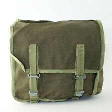 Vintage Polish Army Surplus Dark Green Canvas Military Pannier Bag Kit Pouch
