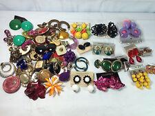 Asst. Lot 80+ Single Clip Pierced Retro Earrings Craft Project
