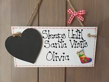 Personalised Countdown to Christmas Sleeps Until Santa Plaque Sign Gift Advent