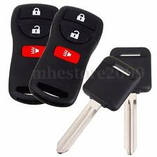 2x Keyless Entry Remote Key Fob + Uncut Chip Transponder Ignition Key For Nissan