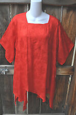 """ART TO WEAR MISSION CANYON 74 PIXIE HEM TOP IN NEW SCARLET JACQUARD, OS, 46""""B!"""