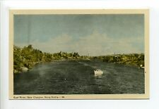 Canada - NS, Pictou County, New Glasgow, East River, homes, motor boat, 1940's?