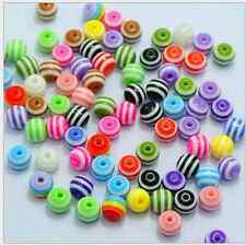 50pcs mix colour round resin stripe charms Spacer bead 8 mm