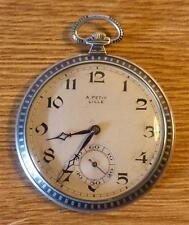Huguenin Cased Silver Greyhound Deco Pocket Watch  - Le Locle