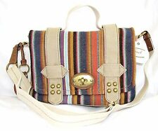 FOSSIL GRAYSON MULTI COLOR STRIPE CANVAS+LEATHER TURNLOCK FLAP CROSSBODY HANDBAG