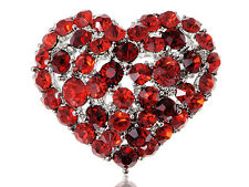 Lady Crystal Elements Ruby Blood Red Crushed Bleeding Love Heart Pin Brooch