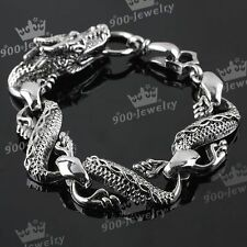 Vintage Silvery Stainless Steel Dragon Link Chain Bracelet Cuff OT Clasp Punk