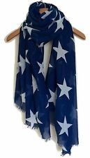 LADIES BLUE AND WHITE LARGE STAR PRINT OVERSIZED  SCARF WRAP WITH FRAYED EDGE