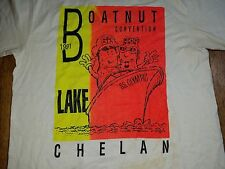 Vintage 1991 Boatnut Convention LAKE CHELAN RARE T-Shirt NEON OLYMPIC Boat Large