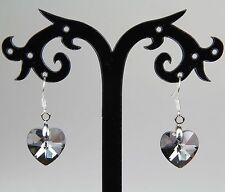 Pretty grey/clear/silver glass crystal heart earrings, silver-plated hooks
