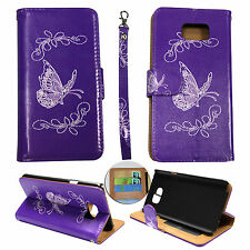 For Samsung Galaxy Note5 PU Synthetic Leather Purple Butterfly Sl  Case Cover O8
