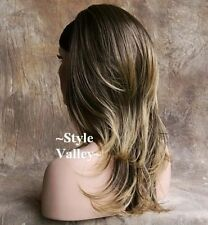 Brown Blonde 3/4 Fall Hair Piece  Long Straight w/ wavy ends Half Wig Hairpiece
