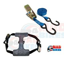 MOTORCYCLE TRANSPORT TIE DOWN RATCHET STRAP SYSTEM TYRE FIX, VAN, TRAILER, ETC