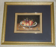 Framed Print Plums & Peaches Still Life Fruit on Plate Picture Black & Gold