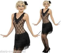 Ladies Sexy Jazz Flapper Charleston Fringed 1920s 30s Fancy Dress Costume Outfit