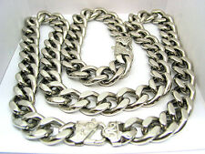MENS CURB CUBAN HEAVY CHAIN NECKLACE BRACELET SET 15mm STAINLESS STEEL US Seller
