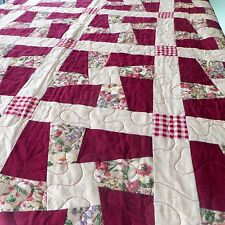 """Handmade Patchwork Quilt 59"""" x 95"""" Cotton Burgundy Pink Yellow Twisted Sisters"""