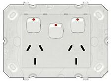 Legrand DOMESTIC POWER OUTLETS AR777XWE 10A 240V 2-Sockets, 3-Pin, Extra Switch