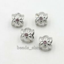 10x Plated Rhodium Flower Alloy Rhinestone European Charms Beads Fit Bracelet BS