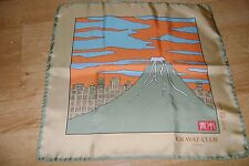 "Hand made Macclesfield silk pocket square hankie 17"" hand rolled Mount Fuji new"